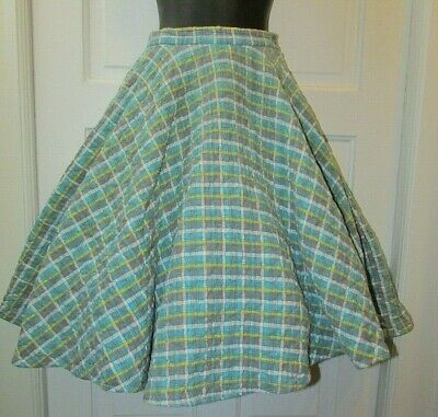 Vtg 50's Blue Plaid Quilted Cotton FULL SWEEP Cirlce Mid Calf Rockabilly Skirt S