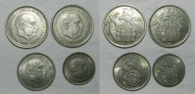 SPAIN : 4 OLD COINS OF FRANCO - High Grades