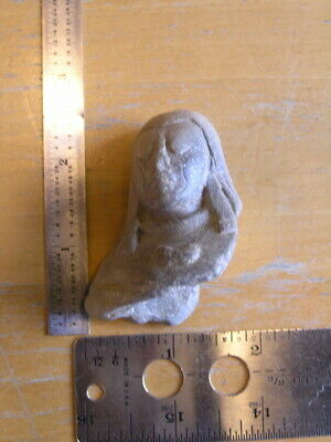 "Ancient pre-columbian Terra-cotta Pottery Effigy Face 2x2 3/8x1 1/2""  , 35 grams"