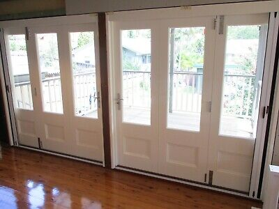 Bespoke custom-made timber multi-fold doors with french door profile