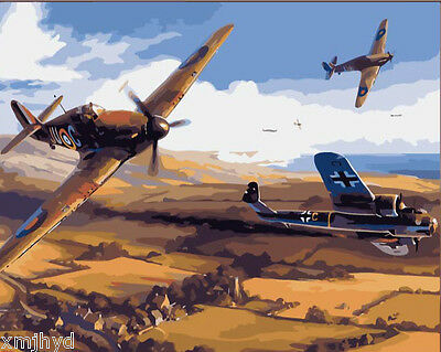Framed Painting by Number kit WW2 Air Combat Aircraft Art Heavy Bomber DZ7231