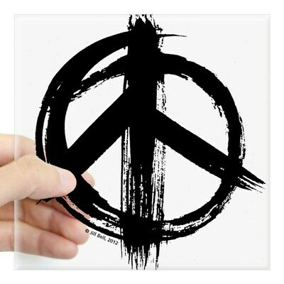 CafePress Peace Sign Black Square Sticker 3 X 3 Square Sticker  (1159708712)