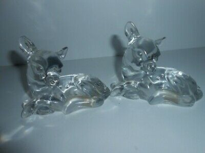 Princess House Lead Crystal pets collection ( FAWN X 2 ) Figurine 8cm Tall / NEW