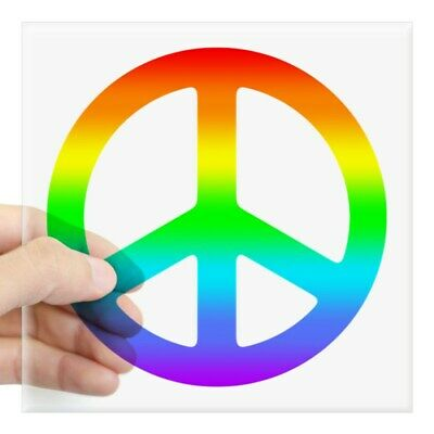CafePress Rainbow Peace Sign Sticker Square Sticker  (1705906413)