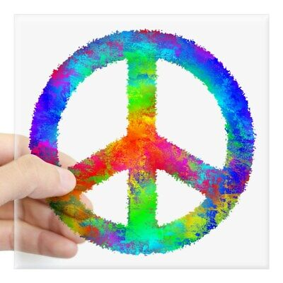 CafePress Distressed Rainbow Peace Sign Sticker Square Sticker  (1705911295)