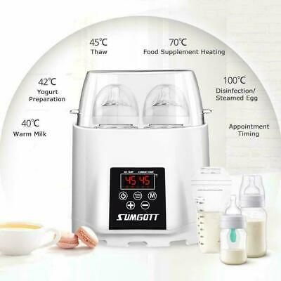 SUMGOTT Double Baby Bottle Warmer Food Warmer/Steriliser Smart Thermostat 5-in1