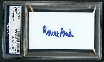 Robert Parish signed autograph auto 2x3.5 cut Boston Celtic Legend PSA Slabbed