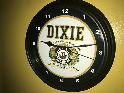 Dixie New Orleans Beer Bar Man Cave Advertising Black Wall Clock Sign