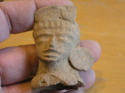 "Ancient pre-columbian Terra-cotta Pottery Effigy Face 1.25x1.375x1""  , 21 grams"