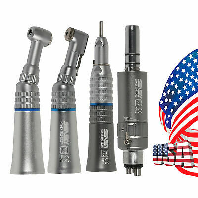 Dental Slow Low Speed Push/Latch Contra Angle Straight Air Motor Handpiece 4Hole