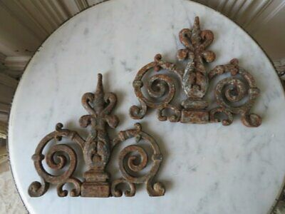 2 INCREDIBLE Old Architectural CAST IRON METAL Fragments Curvy Details PATINA