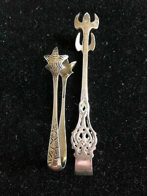 2 Different Antique Sterling Silver Sugar Tongs.