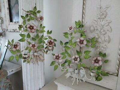 OMG PAIR Old Vintage Italian Tole WALL SCONCES CANDLE HOLDERS Wild Roses BOWS