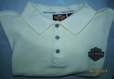 NWT Harley Davidson Motorcycles Large L Oyster White Polo S/S Shirt HD LOGO NWT
