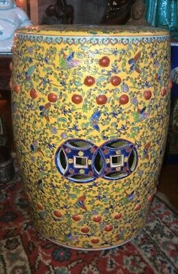 Antique Chinese Yellow Ground Barrel Form Porcelain Garden Seat Painted Nice!