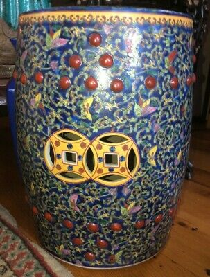 Antique Chinese Blue  Ground Barrel Form Porcelain Garden Seat Painted Nice!