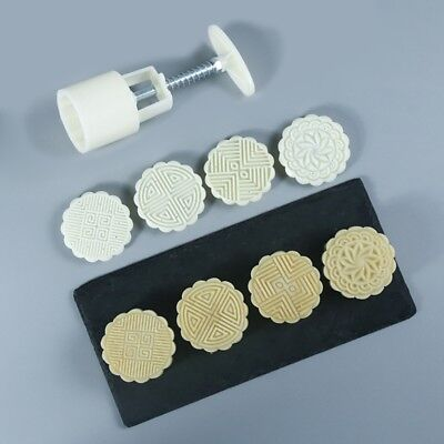 4 Flower Stamps 75g Moon Cake Decor Mould DIY Pastry Round Mooncake Mold Tool