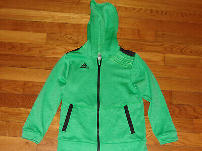 Adidas Green Hooded Athletic Jacket Girls Size 6 Excellent Condition