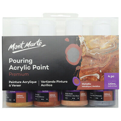 Mont Marte Pouring Acrylic 120ml 4pc - Metallic for Fluid Art