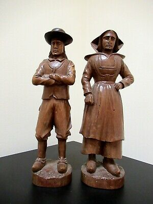 Pair Antique French Carved Wood Figures Breton Man & Woman Black Forest Style