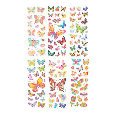 6 Sheets Lovely Butterfly Scrapbooking Bubble Puffy Stickers Reward Kids Toys`AU