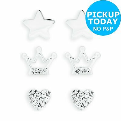9632317c5 REVERE KID'S STERLING Silver CZ Set of 3 Stud Earrings - £12.99 ...