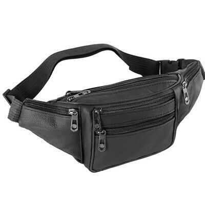 Mens PU Leather Waist Bag Multi-Pockets Storage Fanny Pack Bags