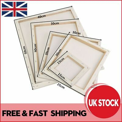 White Artist Blank Stretched Canvas Art Boards Plain Painting Wooden Frame UK