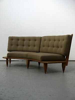 1950S Vintage Original Guillerme Et Chambron Curved Oak Sofa Very Perriand Chapo