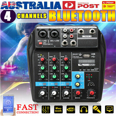 4 Channel USB bluetooth DJ Live Stage Studio Audio Mixer Mixing Console Stereo