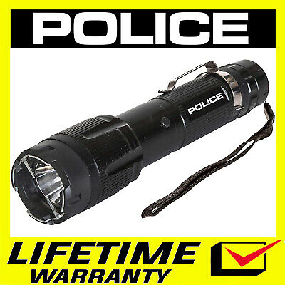 POLICE Tactical Metal Stun Gun LED Flashlight Rechargeable - 1159 Black