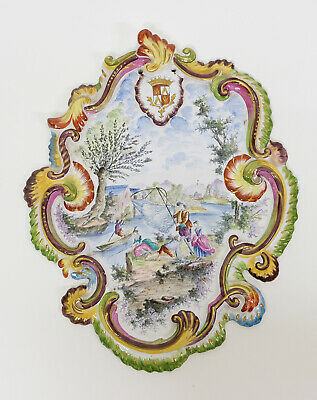 "Splendid Antique 19th Century French Faience Armorial Dish Plaque ""LILLE 1767"""