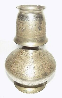 Vintage Brass nickel plated cup and water pot hand engraved #C-283
