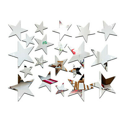 TRIXES 23PC Mirrored Silver Star Stickers Set  Decoration for Home Mothers Day