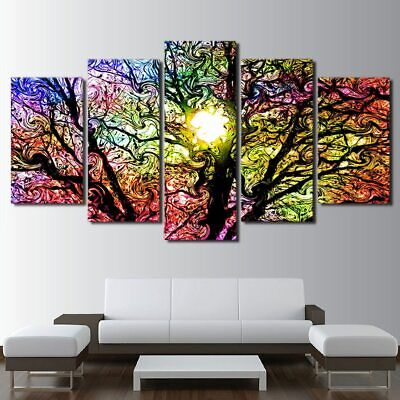 Colorful Sun Tree Abstract Painting Canvas Picture Modern Art Wall Home Decor