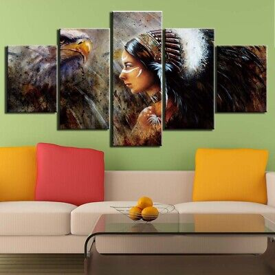 Indian Woman Eagle Abstract Painting Canvas Picture Modern Art Wall Home Decor