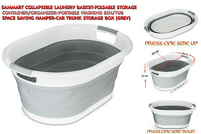 Foldable Oval Washing Basket Collapsible 40 Litre Laundry Clothes Basket Grey