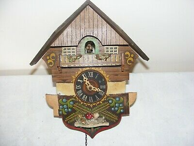 Vintage Wooden Cuckoo Clock Repair Spares Painted Decoration Swiss Black Forest