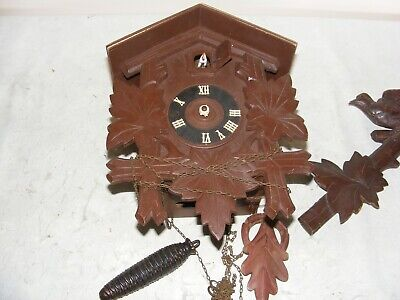 Antique Wooden Cuckoo Clock Repair Spares Black Forest Swiss Carved Pediment