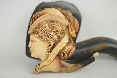 Antique Large Intricate Meerschaum Pipe Stoned Victorian Woman w/ Smoking Case