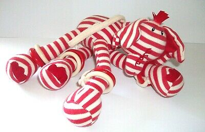 JELLYCAT / KITTEN RED & WHITE STRIPE ELEPHANT SOFT PLUSH TEDDY TOY with RINGS