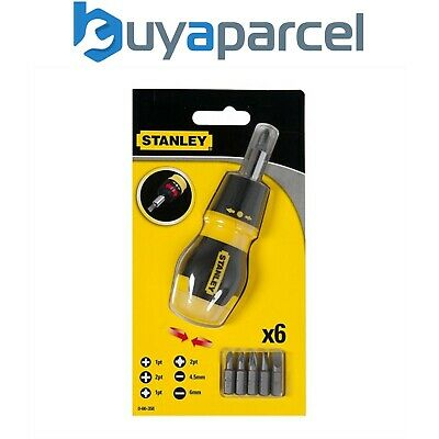 Stanley STA066358 Ratcheting Stubby Screwdriver Bit Set Phillips / Pozi 0-66-358