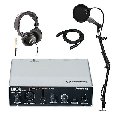 Steinberg UR12 USB Audio Interface with Mic and Headphones Bundle