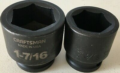 2 Craftsman 3/4 Inch Drive Impact Sockets 6 Point Usa Made (1+3/8 In, 1+7/16 In)