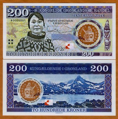 Greenland, 200 Kroner, 2018, Private Issue, Clear Window Polymer, Inuit Girl