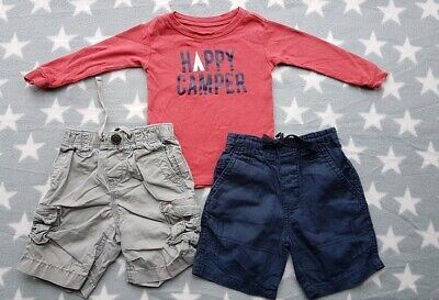 Boys Baby GAP 6-9-12 Months Happy Camper Summer Outfit - Top & 2 x Cargo Shorts