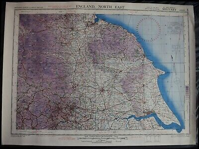 1944 WWII Antique British Military Ordnance Survey map - North East England