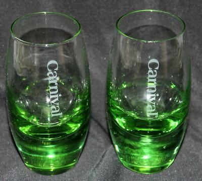 Set of 2 Carnival Cruise Line Shot Glasses New Style Emerald Green Glass Lot #1