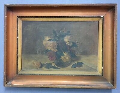 Antique Victorian French Oil On Board Painting In Gold Gilt Frame, Signed