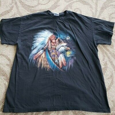 8cf888fa VINTAGE XL NATIVE American Indian Bald Eagle Wolf Graphic T Shirt ...